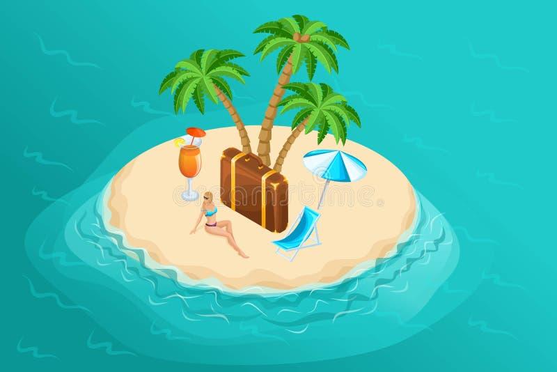 Isola isometrica in mezzo all'oceano, bella ragazza sulla spiaggia, palme tropicali, cocktail, resto di paradiso illustrazione vettoriale