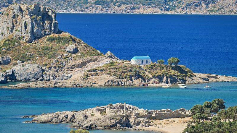 Isola Kos di Vrachonisida Kastri - della Grecia Bello concetto per le vacanze estive e la festa Bello paesaggio con il mare, isol fotografia stock libera da diritti