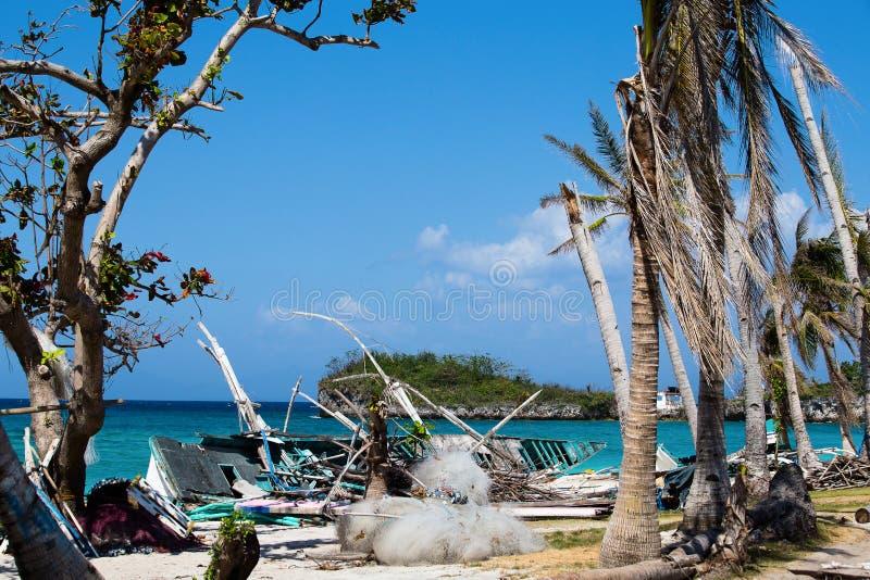 Isola Malapascua dopo il tifone, Filippine fotografia stock