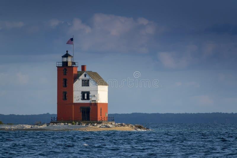 Isola rotonda storica meravigliosamente dipinta Michigan di Mackinac del faro dell'isola immagine stock libera da diritti