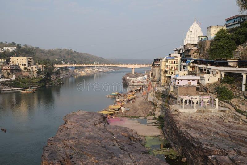 Isola sacra di Omkareshwar fotografia stock libera da diritti