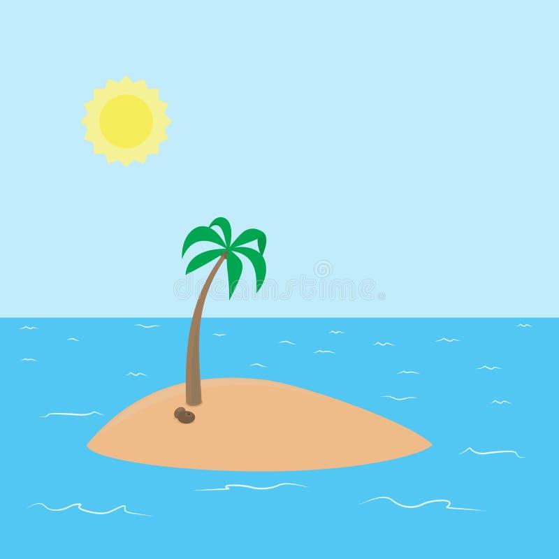 Isola tropicale abbandonata con la spiaggia e la noce di cocco royalty illustrazione gratis