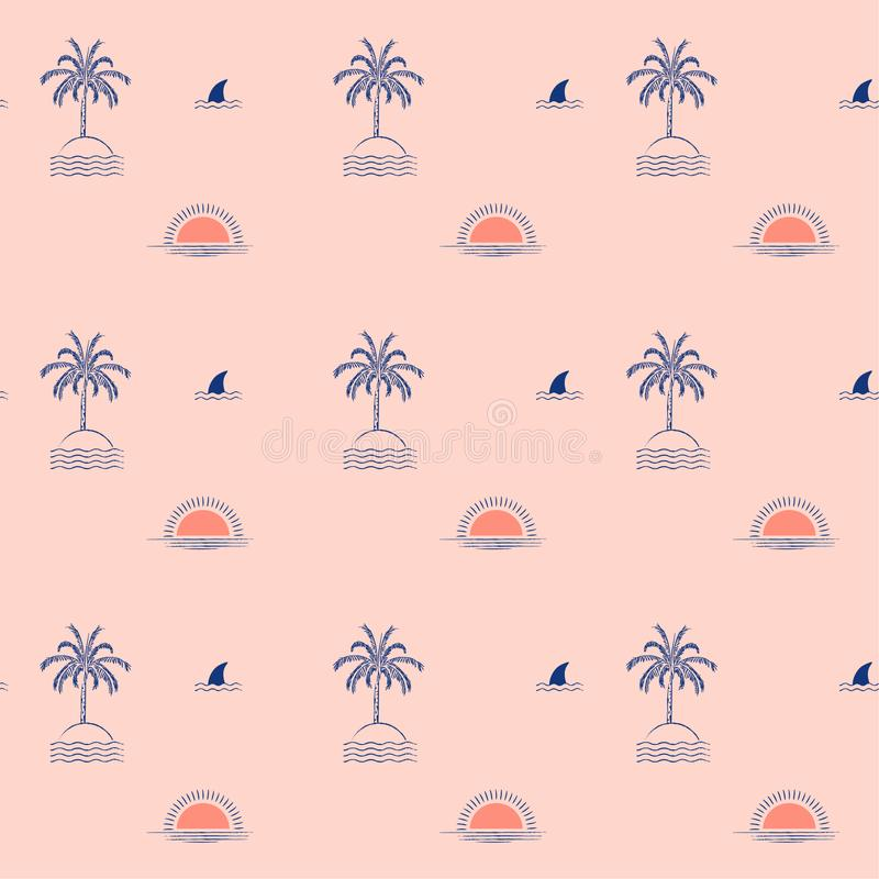 Isola tropicale d'avanguardia della palma di estate, onda, sole, spiaggia, progettazione senza cuciture del modello di ripetizion illustrazione vettoriale