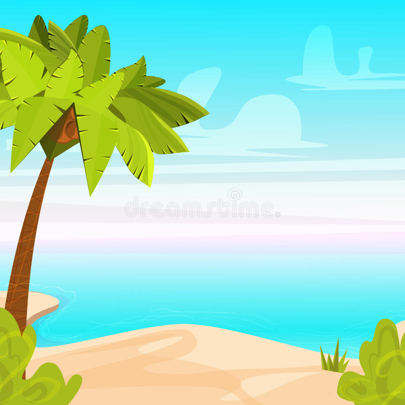 Isola tropicale della spiaggia con la palma Costa sabbiosa vicino all'oceano Illustrazione di vettore del fumetto di vacanze esti illustrazione di stock