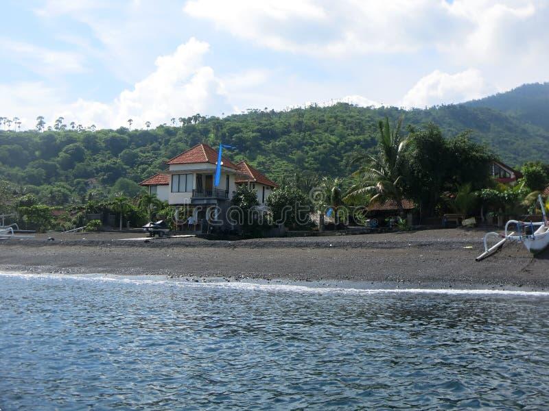 Isola tropicale, mare, cielo, palma, sole fotografia stock
