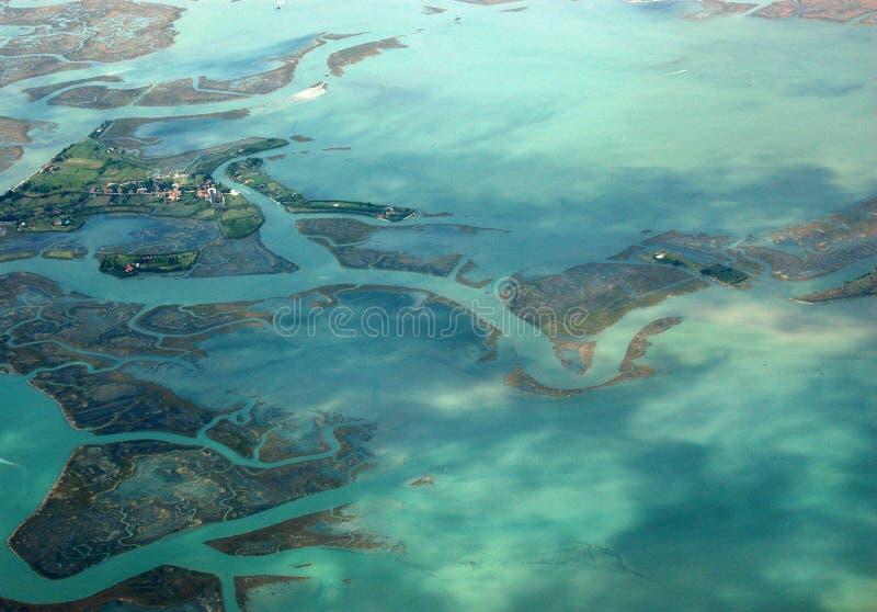 Isola veneziana di Torcello, osservata dall'aria fotografia stock
