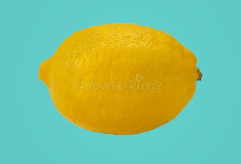 Isolado amarelo fresco do limão no fundo azul vívido imagens de stock royalty free