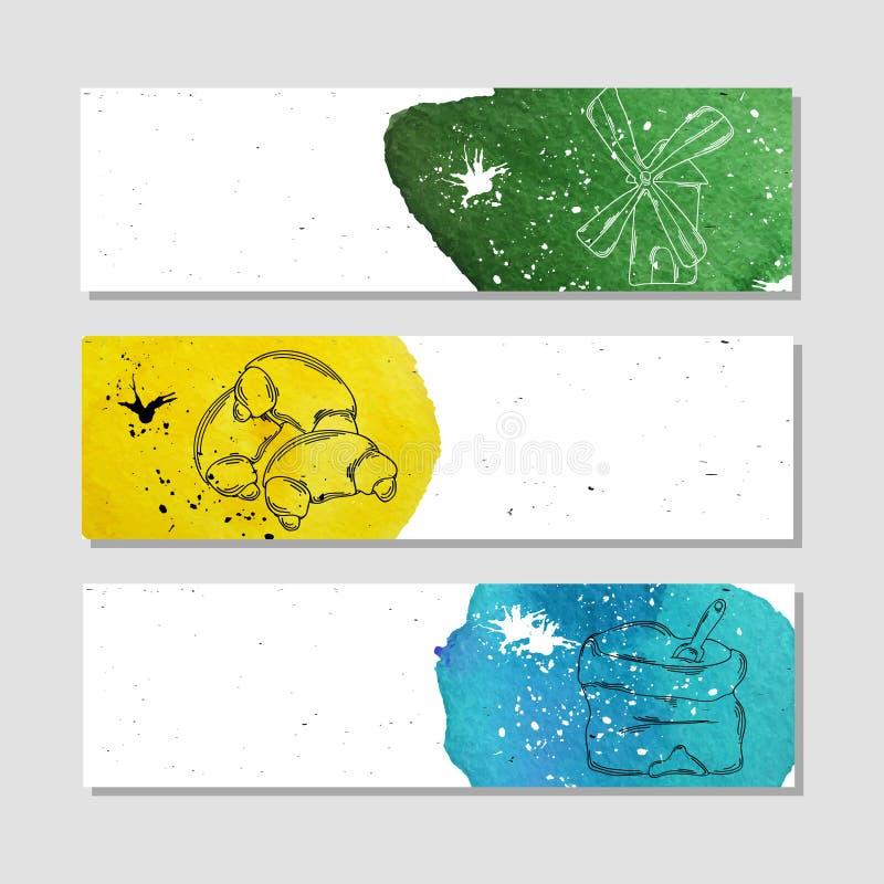 Isolado anunciar a bandeira no estilo de papel com aquarela colorida mancha ilustração royalty free