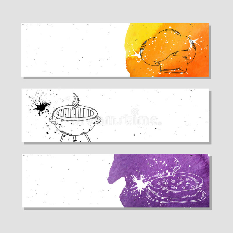 Isolado anunciar a bandeira no estilo de papel com aquarela colorida mancha Os atributos para o cozinheiro chefe na cozinha e no ilustração do vetor