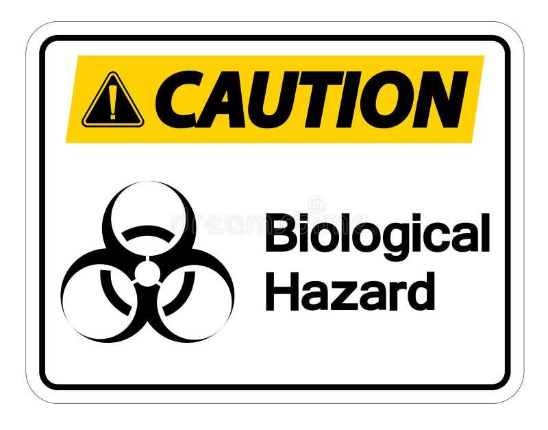Isolado biol?gico do sinal do s?mbolo do perigo do cuidado no fundo branco, ilustra??o do vetor ilustração stock