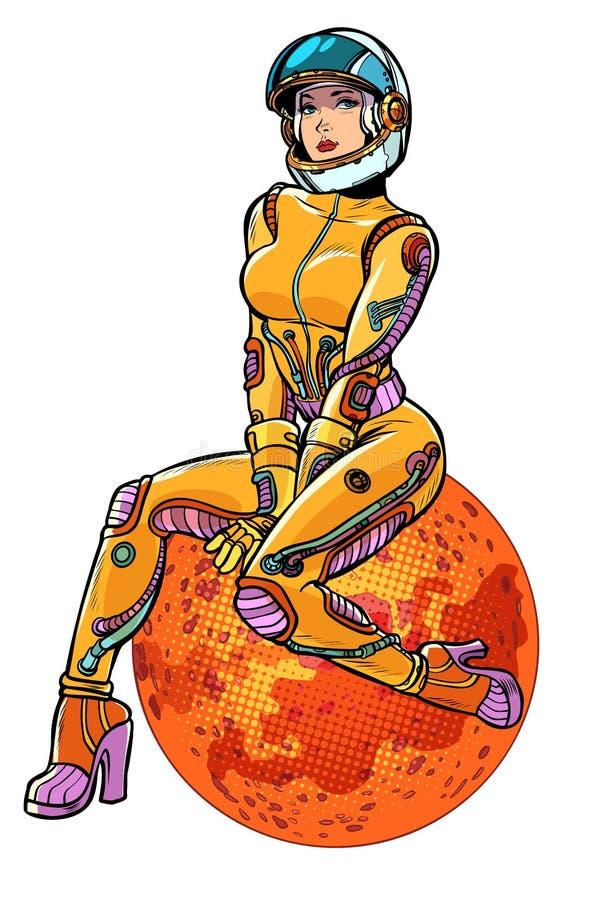 Isolado bonito 'sexy' do astronauta da mulher de Marte do planeta vermelho no fundo branco ilustração stock