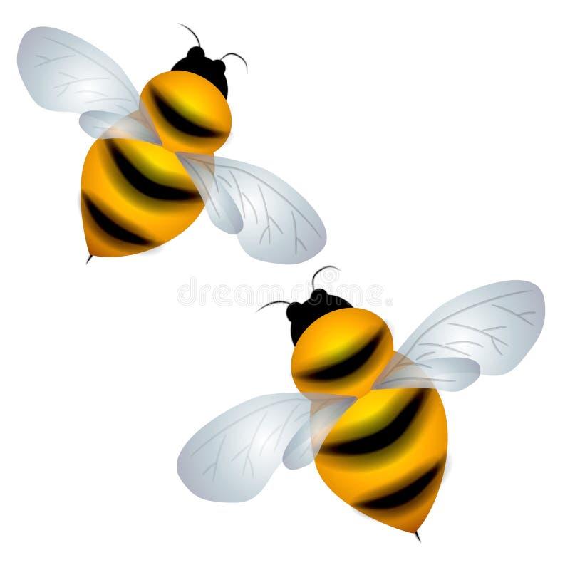Isolado Bumble o voo das abelhas ilustração stock