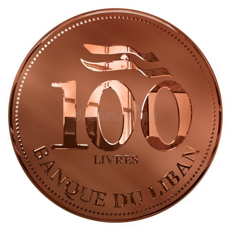 Isolado cem libras de moeda ilustrada cobre Líbano ilustração royalty free