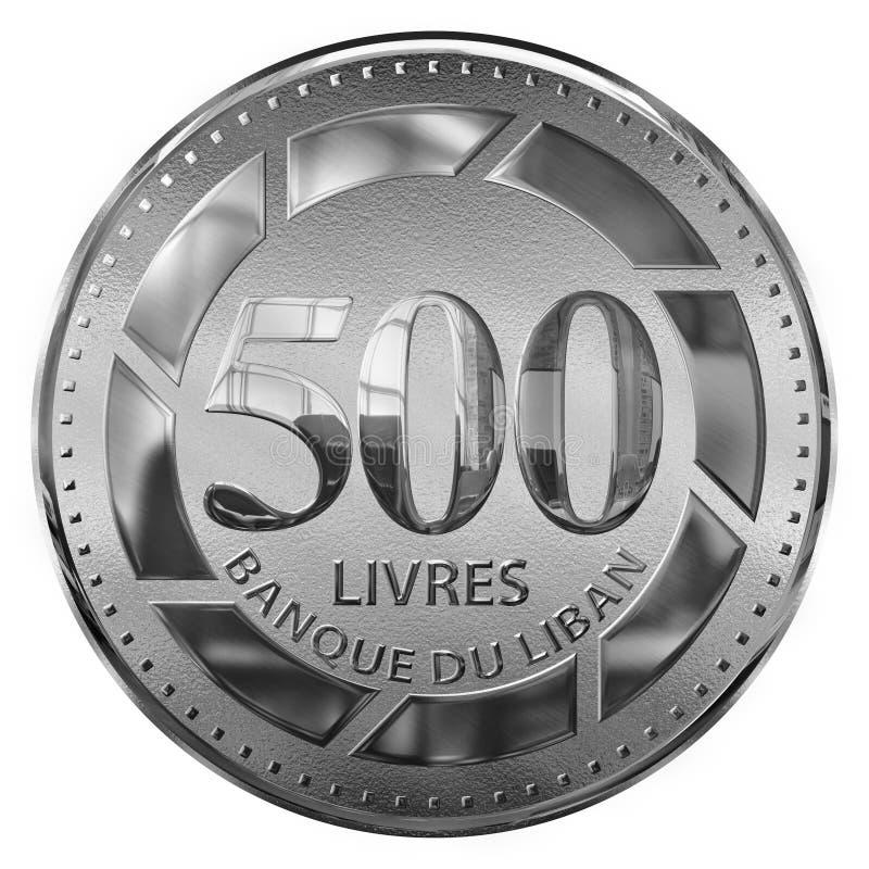 Isolado cinco cem libras de moeda ilustrada prata Líbano ilustração stock