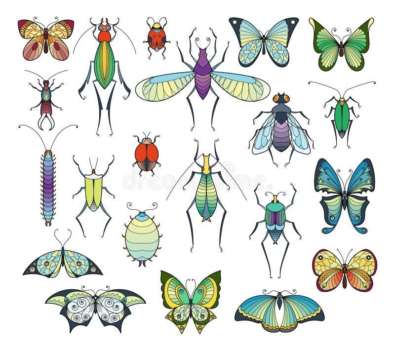 Isolado colorido dos insetos no branco Imagens do vetor dos erros e das borboletas ajustadas ilustração do vetor