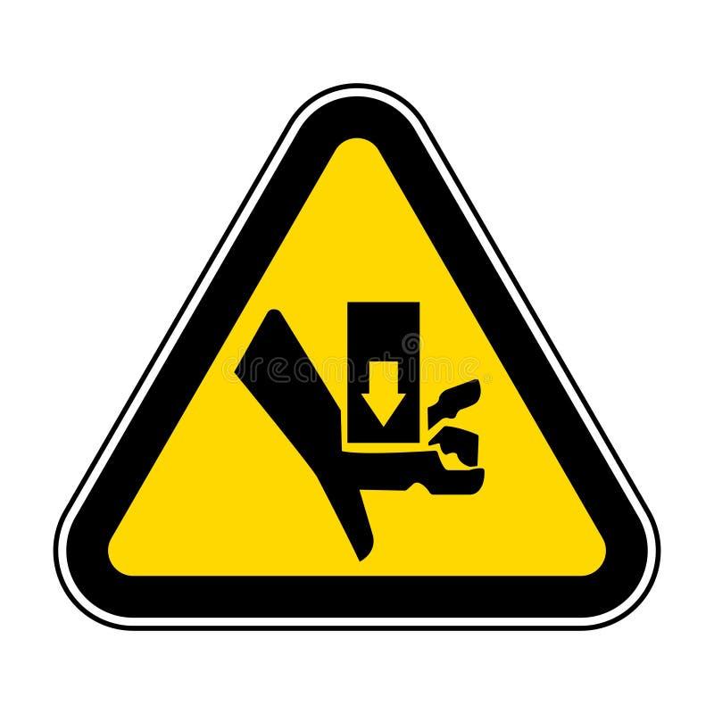 Isolado de advertência do sinal do símbolo do esmagamento e do corte da parte movente no fundo branco, ilustração EPS do vetor 10 ilustração do vetor