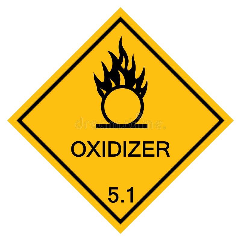 Isolado de advertência do sinal do símbolo do Oxidizer no fundo branco, ilustração EPS do vetor 10 ilustração royalty free