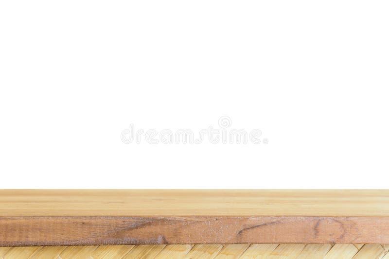 Isolado de madeira claro vazio do tampo da mesa no ƒ branco do ¹ do backgroundà imagem de stock royalty free