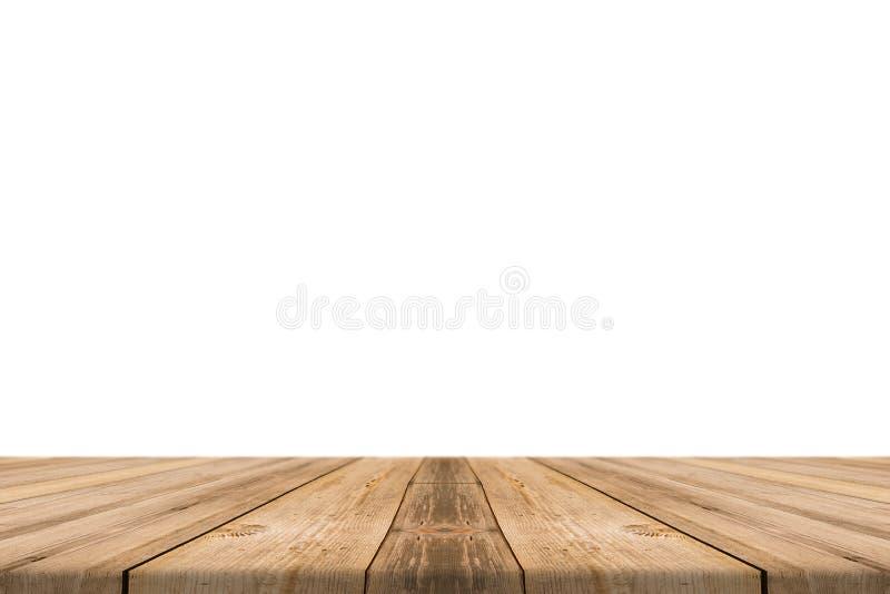 Isolado de madeira claro vazio do tampo da mesa no fundo branco imagem de stock royalty free