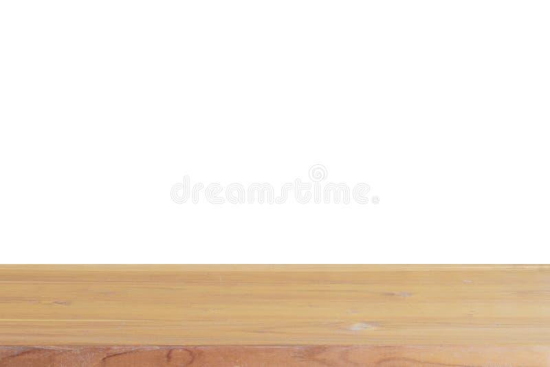 Isolado de madeira claro vazio do tampo da mesa no fundo branco imagem de stock