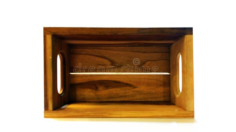 Isolado de madeira da caixa no fundo branco fotografia de stock royalty free