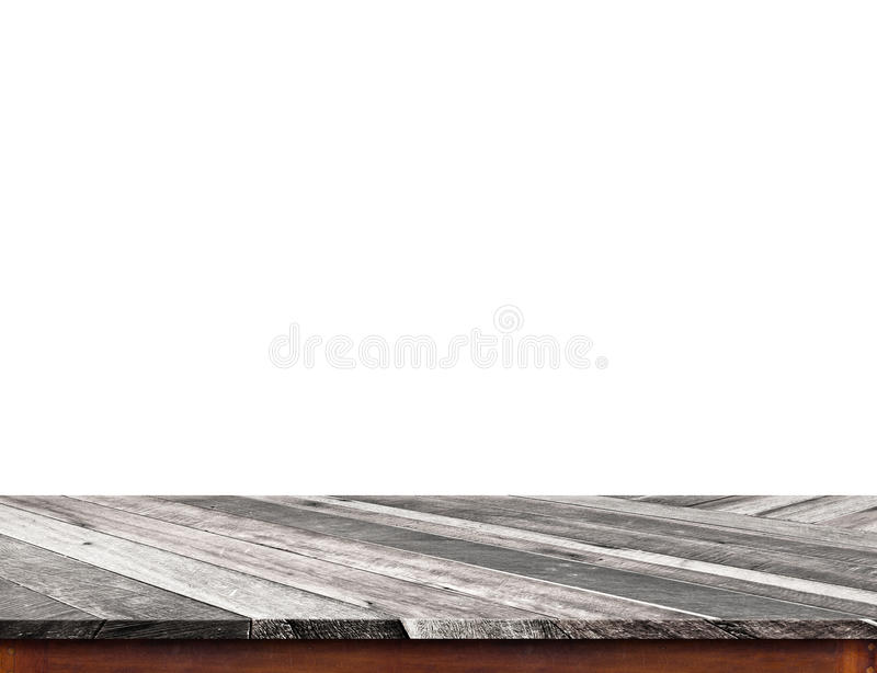 Isolado de madeira tropical vazio do tampo da mesa no fundo branco, pasto imagem de stock royalty free
