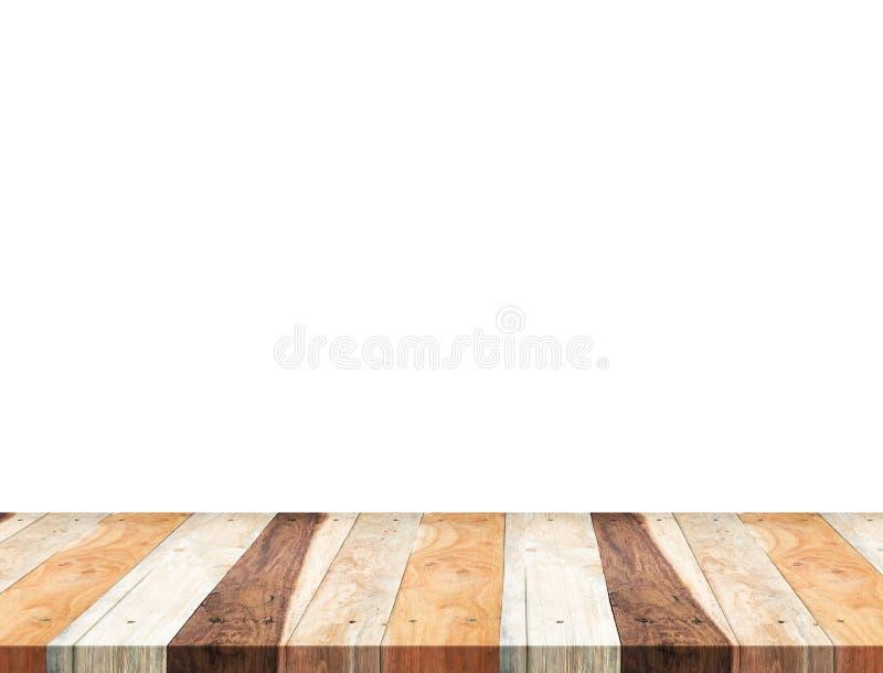 Isolado de madeira tropical vazio do tampo da mesa no fundo branco, pasto imagem de stock