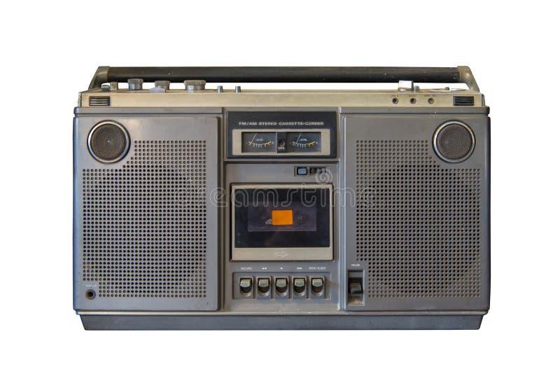 Isolado de rádio velho retro no fundo branco, estilo do vintage fotos de stock royalty free