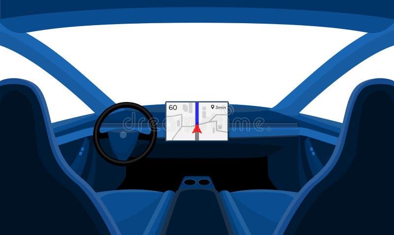 Isolado dentro do carro Front Dashboard View Outside Window interior ilustração stock