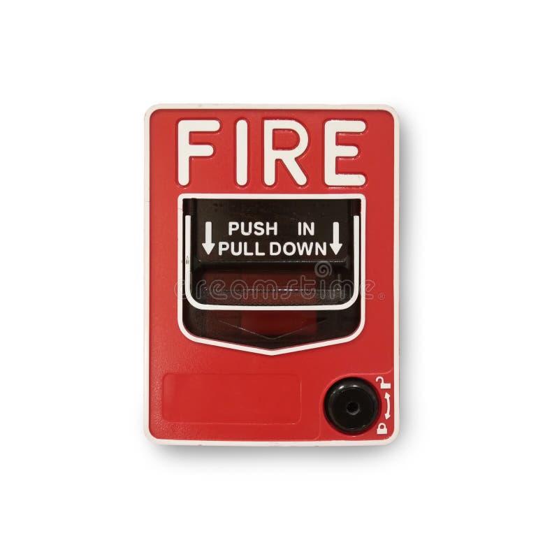 Isolado do botão do alarme de incêndio no fundo branco fotografia de stock