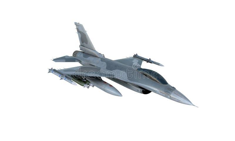 Isolado do F-16 do jato no fundo branco avião de combate militar americano Exército dos EUA fotos de stock