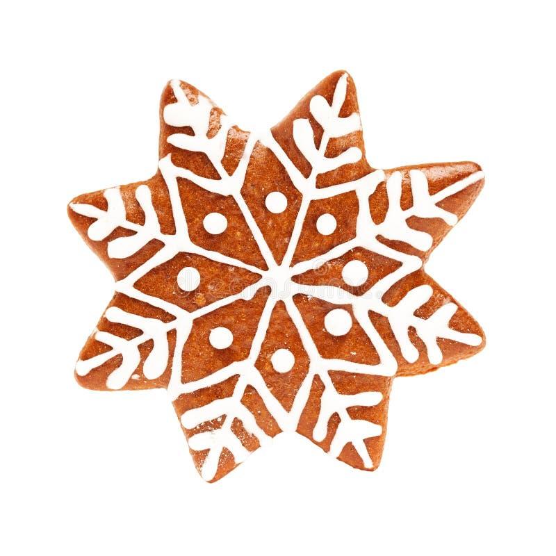 Isolado do floco de neve Cookie do Natal no branco fotos de stock