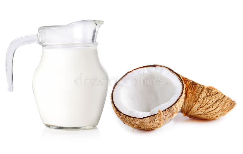 Isolado do leite de coco no fundo branco foto de stock royalty free
