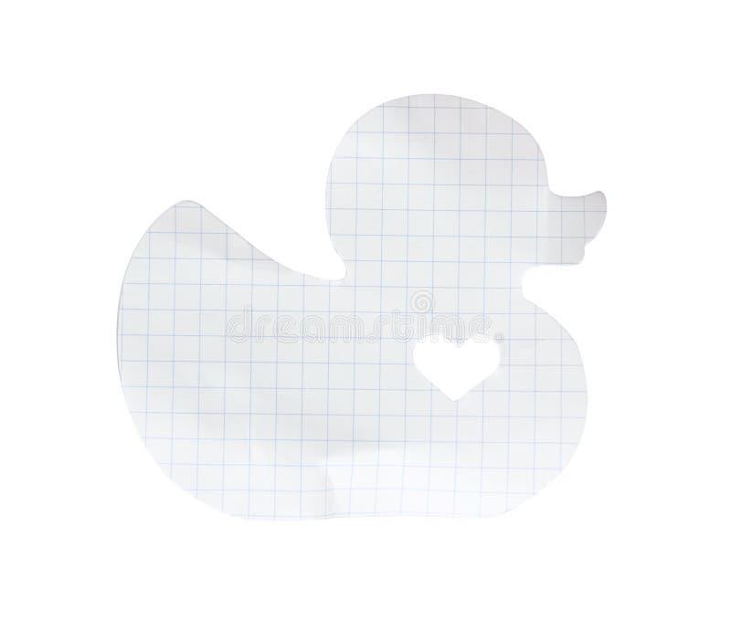 Isolado do papel de nota do memorando do pato (trajeto de grampeamento) fotografia de stock royalty free