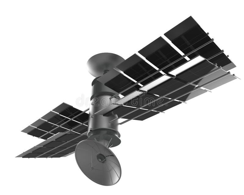 Isolado do satélite de telecomunicações, trajeto de grampeamento ilustração royalty free