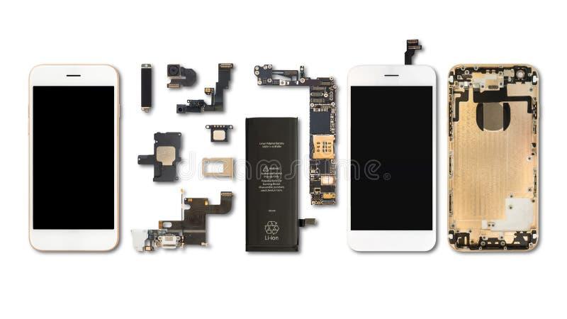 Isolado dos componentes de Smartphone no branco fotografia de stock