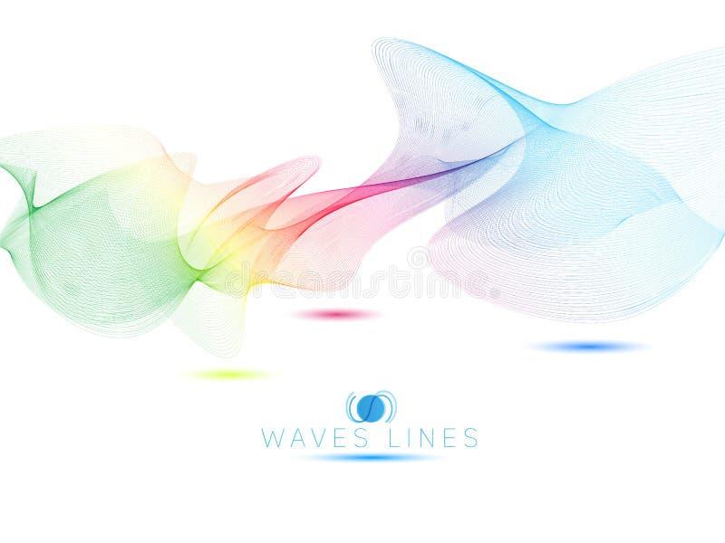 Isolado em ondas claras coloridas do arco-íris branco alinhe o sumário brilhante ilustração stock