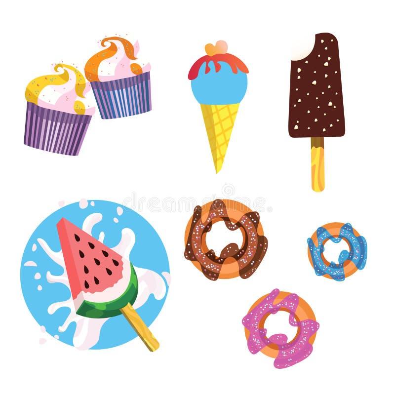 Isolado gelado e os ícones das sobremesas ilustração royalty free