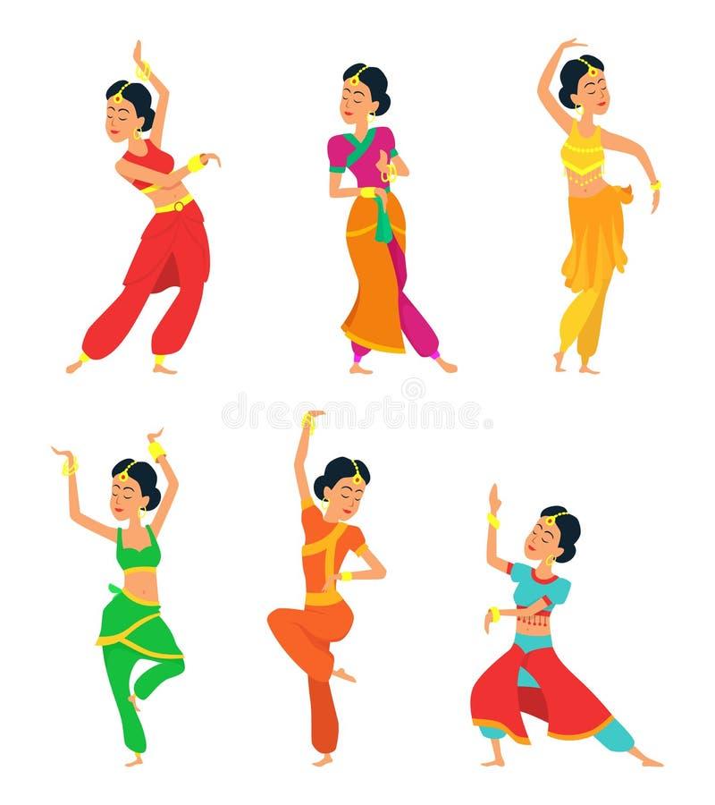 Isolado indiano dos dançarinos no fundo branco Caráteres ajustados ilustração royalty free
