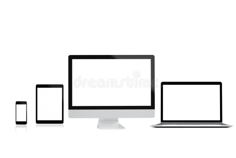 Isolado moderno do telefone celular e da tabuleta do portátil do computador no fundo branco para o modelo, rendição 3D imagem de stock