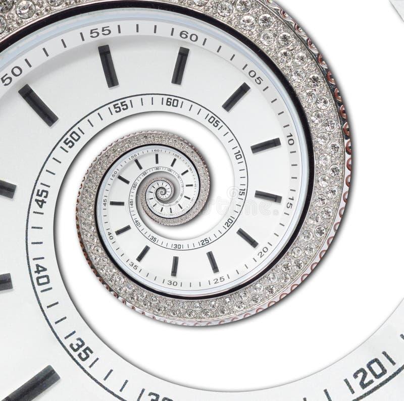 Isolado na espiral surreal do fractal branco moderno futurista branco do sumário do relógio de pulso de disparo Textura abstrata  imagem de stock