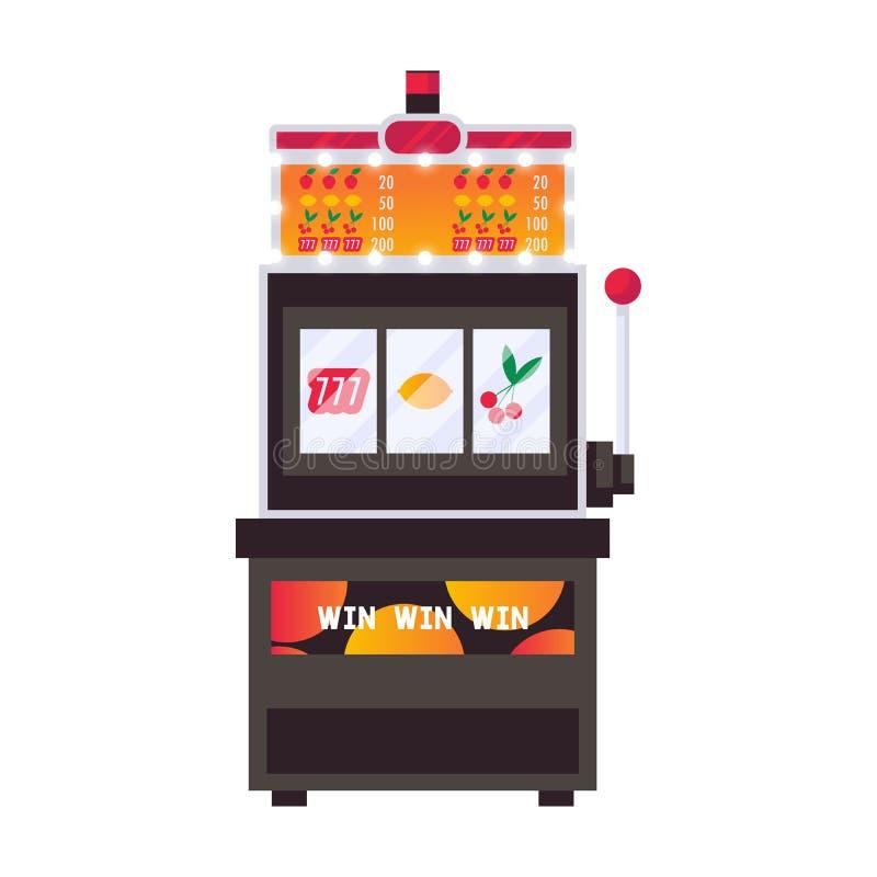 Isolado na ilustração lisa do vetor branco com o slot machine em cores brilhantes Objeto de jogo ilustração royalty free