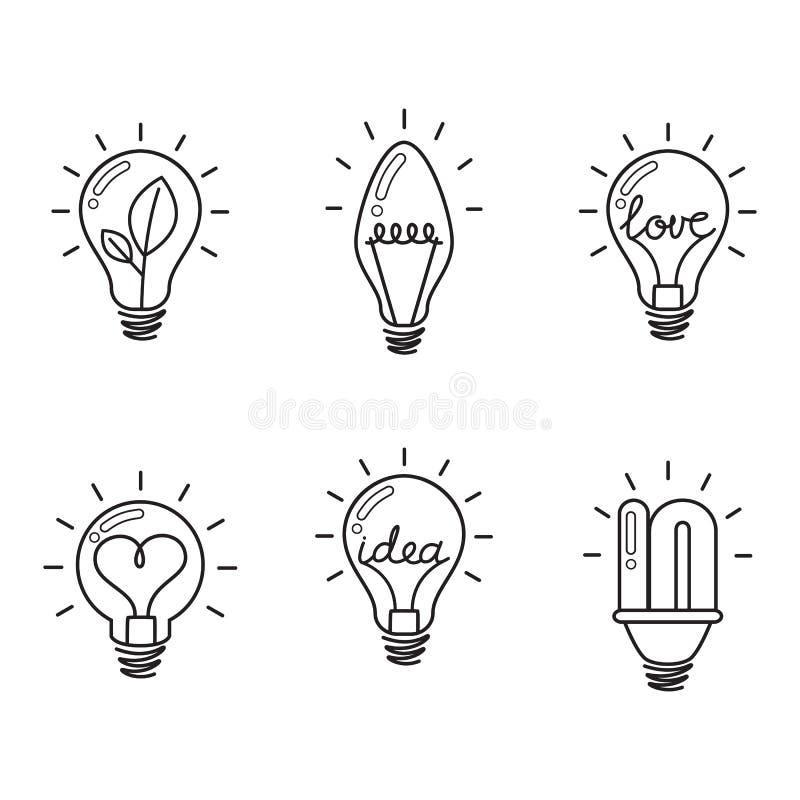 Isolado no branco Grupo do ícone do bulbo Ampola creativa Coleção de elementos do projeto ilustração do vetor