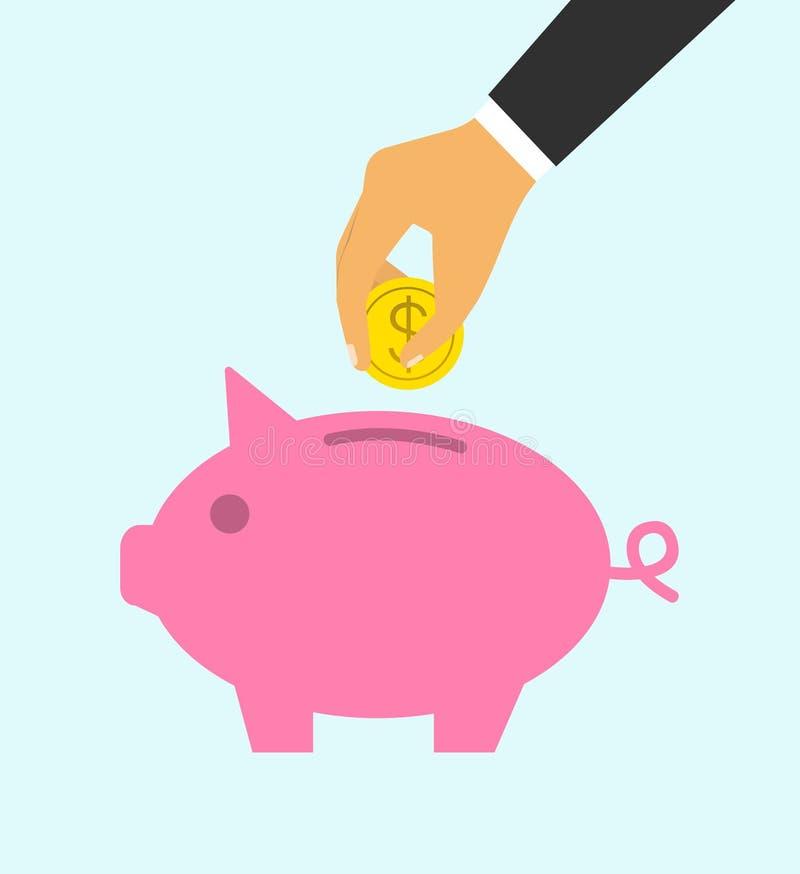 Isolado no branco A mão do conceito de um homem de negócios joga uma moeda em um mealheiro dep?sito ilustração stock