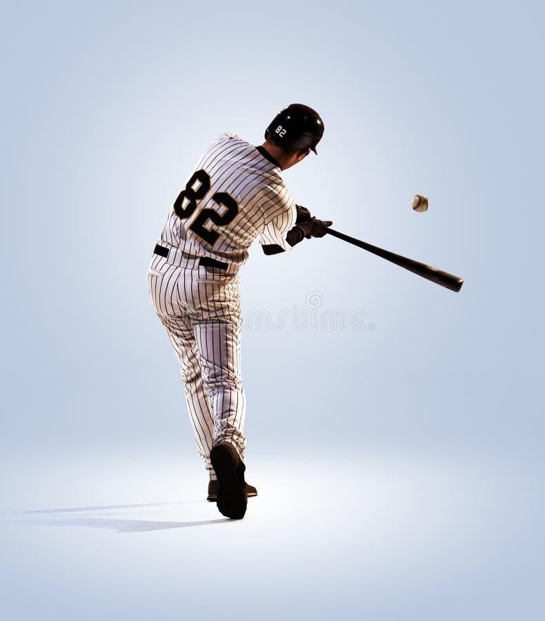 Isolado no jogador de beisebol profissional branco imagem de stock royalty free
