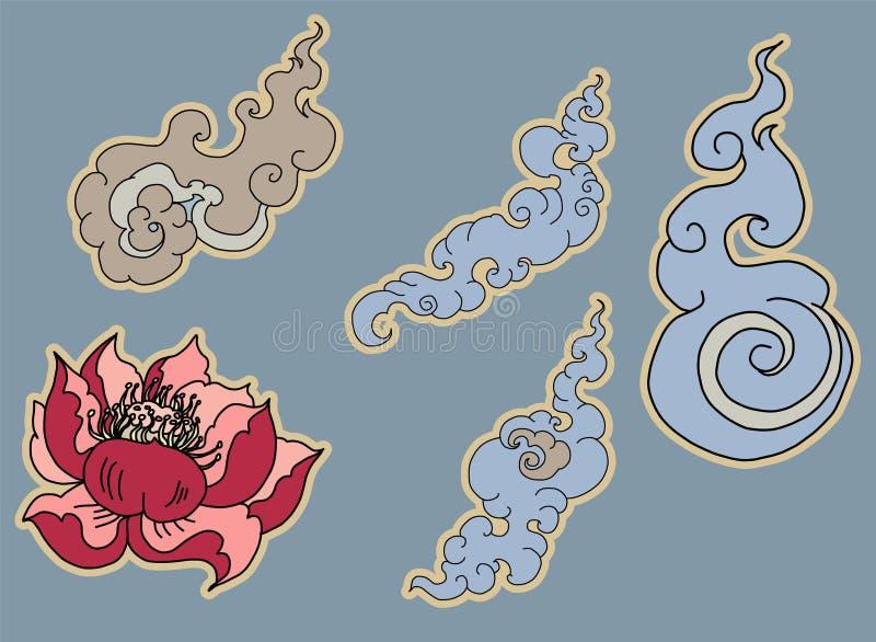 Isolado tailandês da onda de água no fundo branco projeto do respingo da água para a tatuagem ilustração royalty free