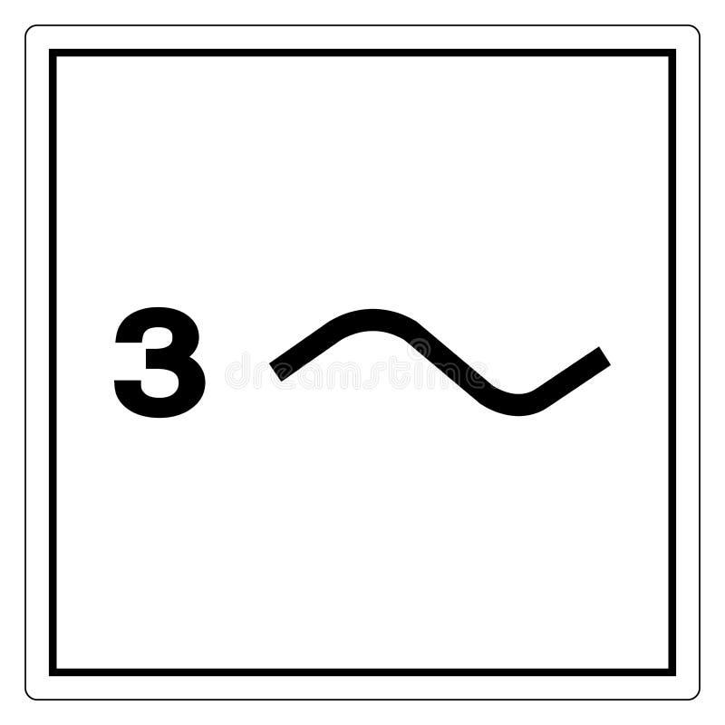 Isolado trifásico do sinal do símbolo do poder no fundo branco, ilustração EPS do vetor 10 ilustração do vetor