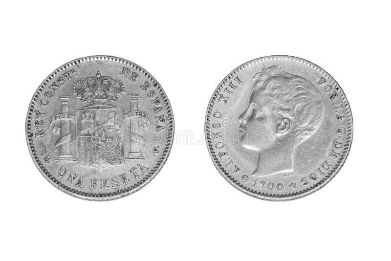Isolado uma moeda de prata da peseta de 1900 imagens de stock