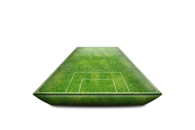 Isolado verde do campo 3D do estádio de futebol fotos de stock royalty free