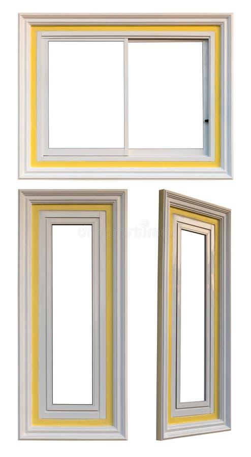 Isolados três janelas brancas e amarelas imagem de stock